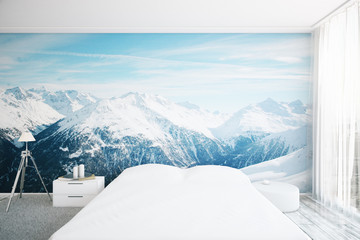 Bedroom interior with landscape wallpaper