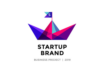 Logo for startup project with inscription Startup Brand - Business project. Logo template of colorful paper boat. Business concept and identity symbol. Startup graphic design concept. Vector