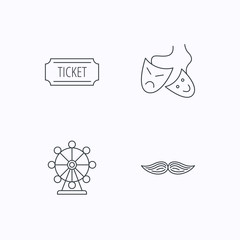 Ferris wheel, ticket and theater masks icons.