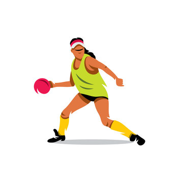 Vector Girl playing dodge ball Cartoon Illustration.