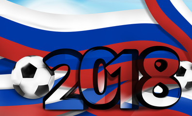 russia russian soccer football 2018 bold font 3d illustration
