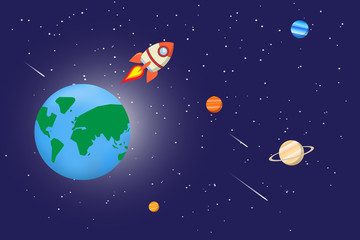 space background with Planets, rockets, stars, spaceship and com