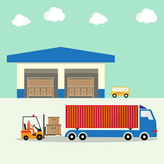 warehouse with forklift loading goods boxes pallet to container