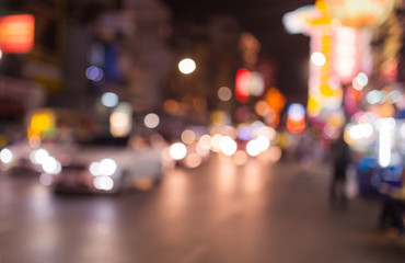 Abstract bokeh light background of traffic and city night