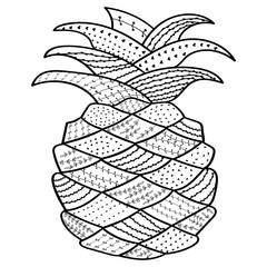 Pineapple whimsical line art. Coloring book for adult, antistress coloring pages. Hand drawn vector isolated illustration on white background. Henna mehendi, tattoo sketch