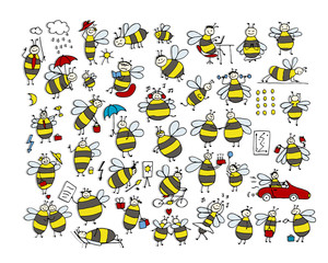 Funny bee collection, sketch for your design