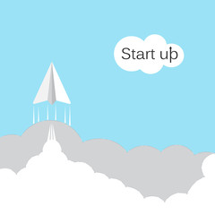 Paper rocket icon with white cloud on sky background.Start up