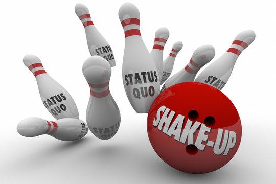 Status Quo Vs Shake-Up Bowling Ball Strike 3d Illustration