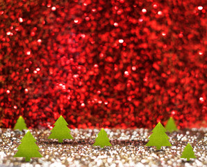 green christmas tree (3D rendering) in red and gold glitter stud