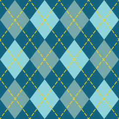 Trendy blue argyle seamless pattern - Modern design in teal, blue, and orange