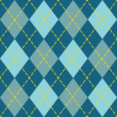 Trendy blue argyle seamless pattern - Modern design in teal, blue, and orange