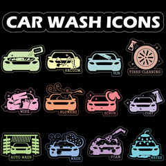 color car wash icons