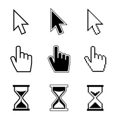 Pixel cursor pointer, hand, arrow, hourglass, click, press vector icons. Cursor symbol, hand arrow cursor icon of set illustration