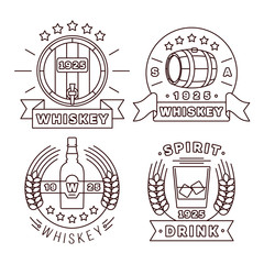 Illustration whisky logo set in thin line style. Vector whiskey alcohol drinks modern labels for pub and whiskey bar