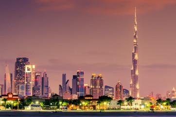 Dubai, United Arab Emirates: Downtown in the sunset