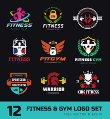 Fitness logo set, GYM logo, Cross fit logo,Women fitness logo,Yoga logo,Vector logo template.