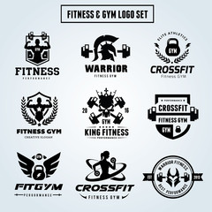 Fitness and GYM logo set , Cross fit ,Women Yoga Vector Brand Identity
