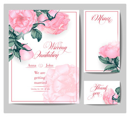 Birthday card with  blooming roses . With place for your text. (Use for Boarding Pass, invitations, thank you card.) Vector illustration.