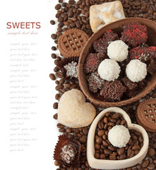 Eastern sweet. Chocolate candy and coffee beans  isolated on white background)
