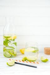 Homemade lemonade with a lime, a lemon and mint
