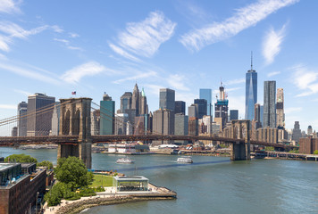 New York City Manhattan downtown buildings skyline Brooklyn Bridge