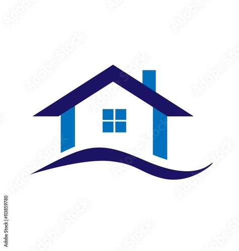 Real estate blue house logo business design stock image for House logo design free