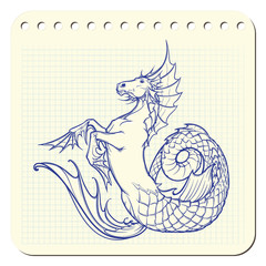 hippocampus or kelpie supernatural water beast. Notepad sketch.