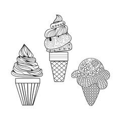 Vector Set of delicious ice-creams doodle style.