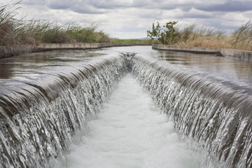 Poster Channel Floodgate area at huge irrigation canal, Extremadura, Spain