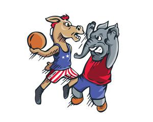 USA Democrat Vs Republican Election Match Cartoon - Political Basketball Jam