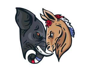 USA Democrat Vs Republican Election Match Cartoon - Intense Face To Face