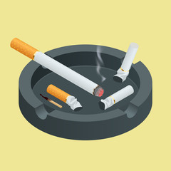 Black ceramic ashtray full of smokes cigarettes. Flat 3d vector isometric illustration.