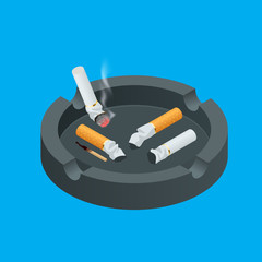 Black ceramic ashtray full of smokes cigarettes. Flat 3d vector isometric illustration.