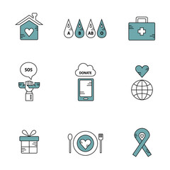Donation and charity vector icon set