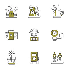 Electricity, power and energy vector icon set