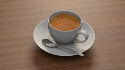 Cup of coffee on wooden background. 3d rendering