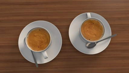 Two cups of coffee on wooden background. 3d rendering
