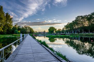 Walk in a park of Heyritz in Strasbourg city center
