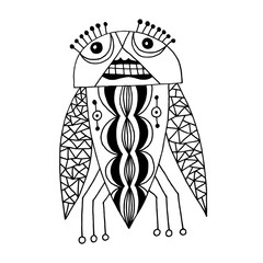 black and white handmade liner drawing of ethnic beetle in flat