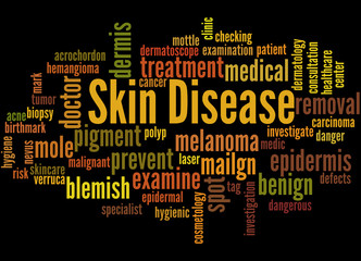 Skin Disease, word cloud concept