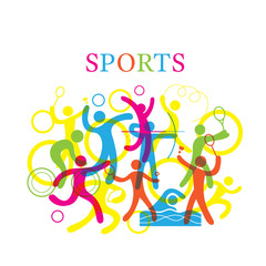 Sports Colorful Illustration,Sports, athletics, Games, Symbol