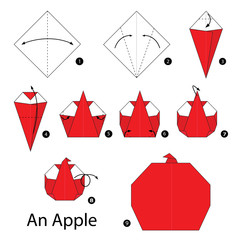 Step by step instructions how to make origami An Apple.