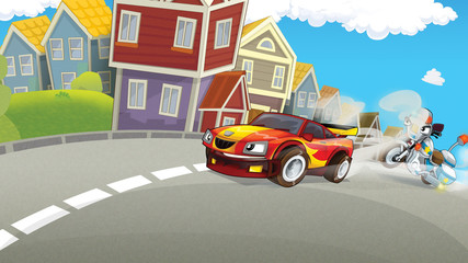 Cartoon scene of police pursuit - police motorbike chasing racing car - illustration for children