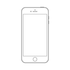 smartphone outline icon on the white background. stock vector illustration eps10