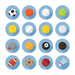 Sports Equipment, Ball Flat Icons Set, Objects, Recreation and Leisure