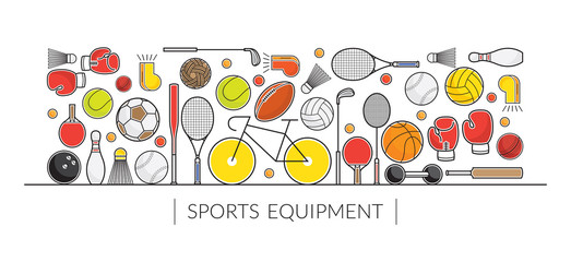 Sports Equipment, Line Icons Display Banner, Objects, Recreation and Leisure