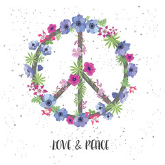Peace Hippie Symbol with Flower on the white Background.