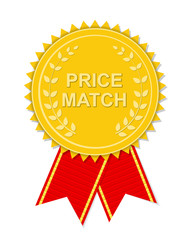 Gold Label Price Match. Vector Illustration