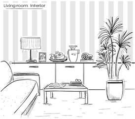 interior of living room design.Vector black hand drawing illust