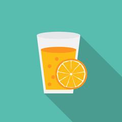 Breakfast Orange Juice Icon in Modern Flat Style Vector Illustra